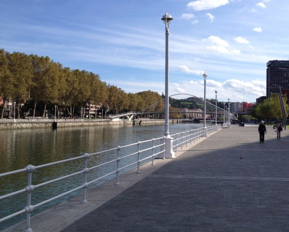 Walking along the Nervion River.