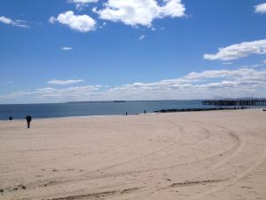 Coney Island beach in May